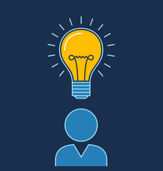 person with lit bulb above head new idea business vector image
