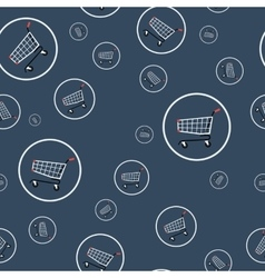 Seamless pattern - shopping cart vector image