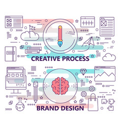 set of banners with creative process and vector image