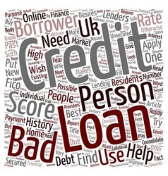 Bad Credit Personal Loan A changed attitude of vector image