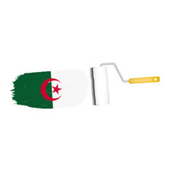 brush stroke with algeria national flag isolated vector image vector image