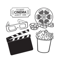 cinema objects popcorn bucket film roll ticket vector image vector image