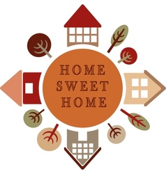 circle with different houses and trees home sweet vector image