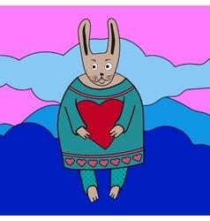 Cute romantic bunny boy vector