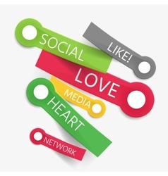 social like tag cloud of stickers vector image