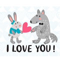 valentine s day greeting card with rabbit and wolf vector image