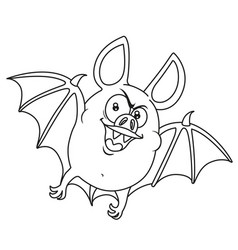 cute fat halloween bat flying outlined for vector image