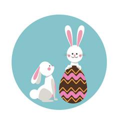 cute rabbits easter beauty egg vector image