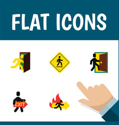 flat icon exit set of evacuation fire exit open vector image vector image