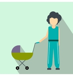 Mother with baby in stroller flat icon vector image vector image