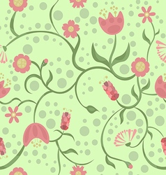 Spring and different pink flowers on a green backg vector image