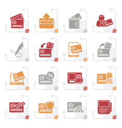 stylized credit card pos terminal and atm icons vector image vector image