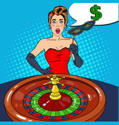 surprised woman behind roulette table vector image vector image