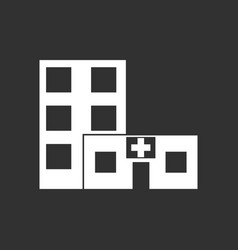 White icon on black background hospital building vector