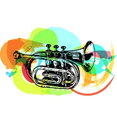 colorful trumpet vector image vector image