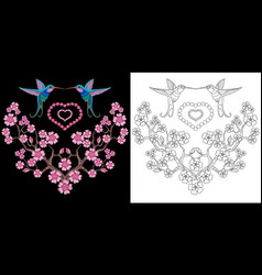 embroidery hummingbird with hearts vector image