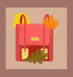 flat shading style icon school bag leaves vector image vector image