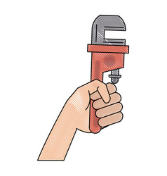 hand with adjustable wrench vector image vector image