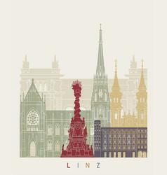 linz skyline poster vector image