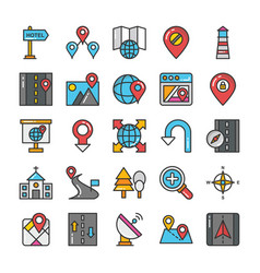 maps and navigation colored icons set 8 vector image