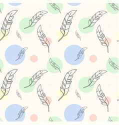pastel seamless pattern with feathers and colorful vector image vector image