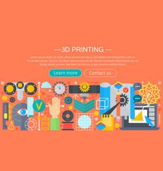 3d printer technology flat concept set vector