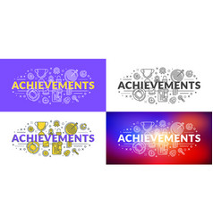 achievements flat line concept for web banner and vector image