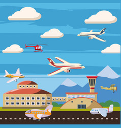 Aviation airport echelon concept cartoon style vector