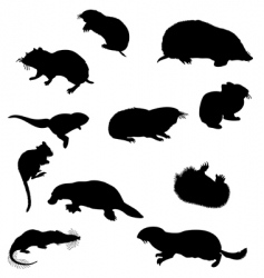 beavers silhouettes vector image