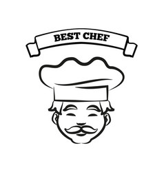 best chef emblem with friendly cook in hat sketch vector image