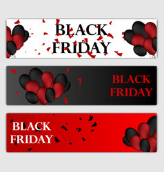 black friday sale horizontal banners set flying vector image