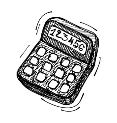 Black sketch drawing of calculator vector