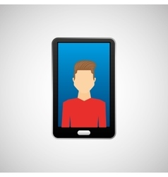 black smartphone and avatar boy vector image