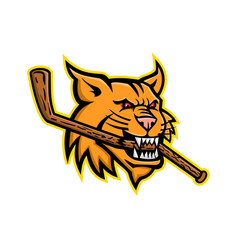 Bobcat ice hockey mascot vector