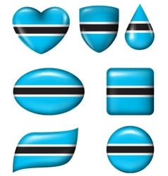 Botswana flag in various shape glossy button vector image