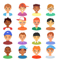 boy portrait male kids character face of vector image