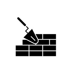 Brickwork black icon sign on isolated vector