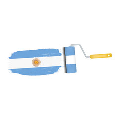 brush stroke with argentina national flag isolated vector image