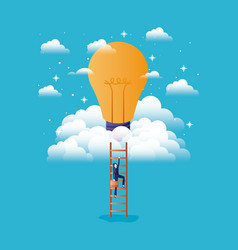 businesswoman in bulb light with stair up vector image