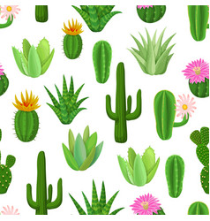 Cactus and succulent seamless pattern vector
