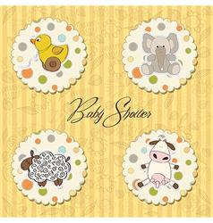 Cartoon baby toys items collection vector
