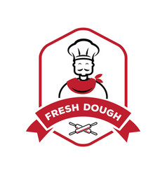 chef with roll pin fresh dough logo vector image vector image