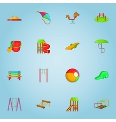 Children gamee icons set cartoon style vector