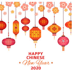 Chinese new year background asian lanterns vector
