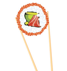 Chopsticks holding sushi vector