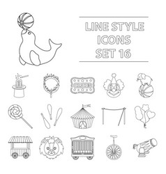 Circus set icons in outline style big collection vector