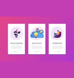 cloud collaboration app interface template vector image