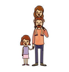 color crayon stripe cartoon dad with daugther on vector image