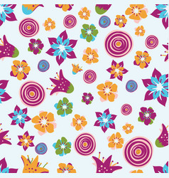 colorful abstract summer flowers on a light blue vector image