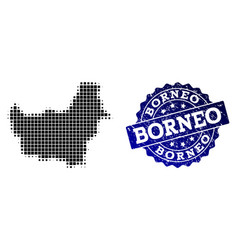 Composition of halftone dotted map of borneo vector